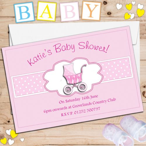 10 Personalised Pink Girl Baby Shower Invitations N17